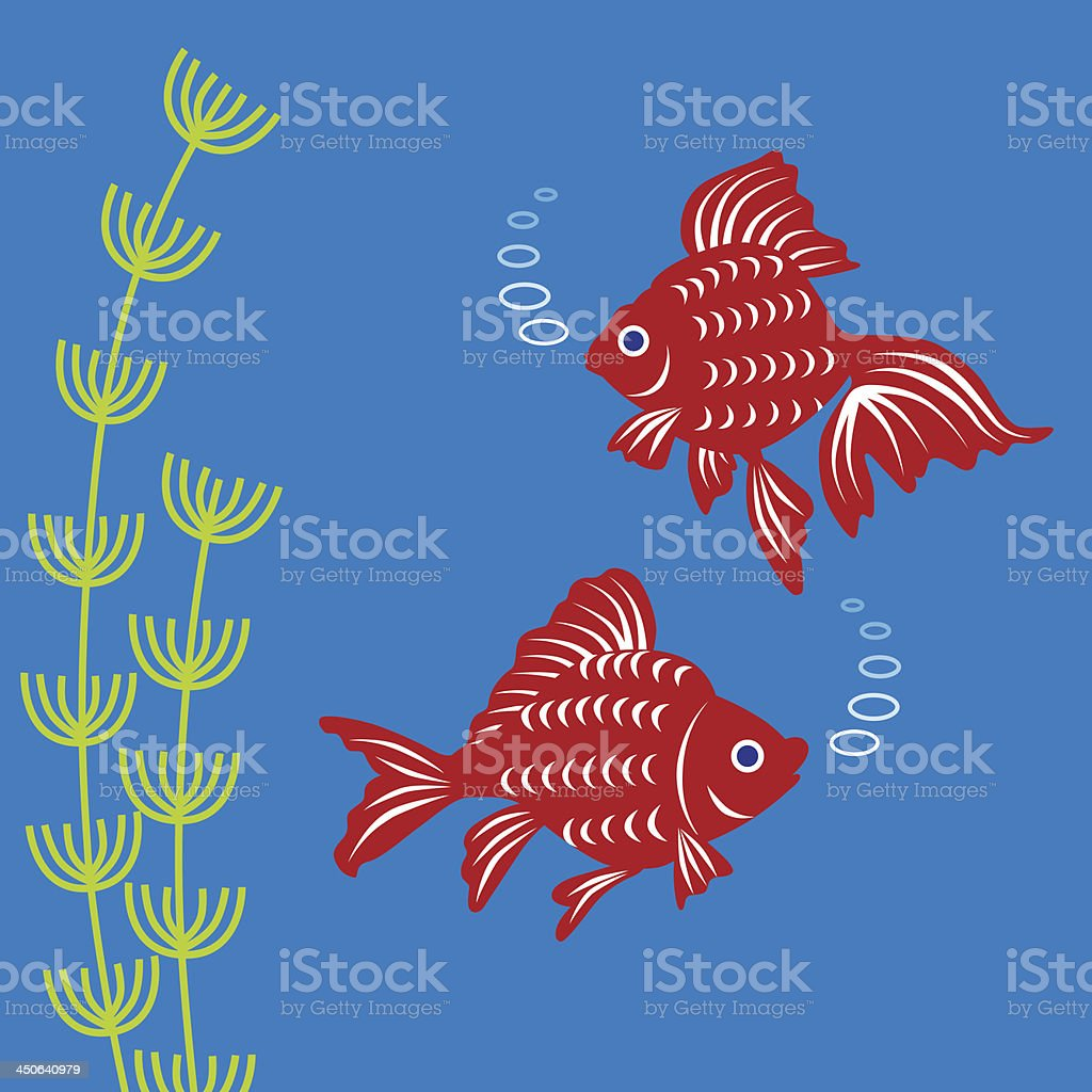 Goldfish and water plants royalty-free stock vector art