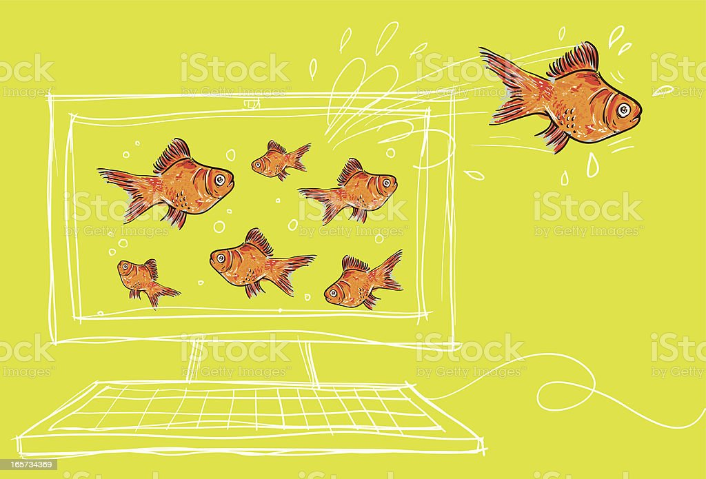 goldfish coming out from a pc vector art illustration