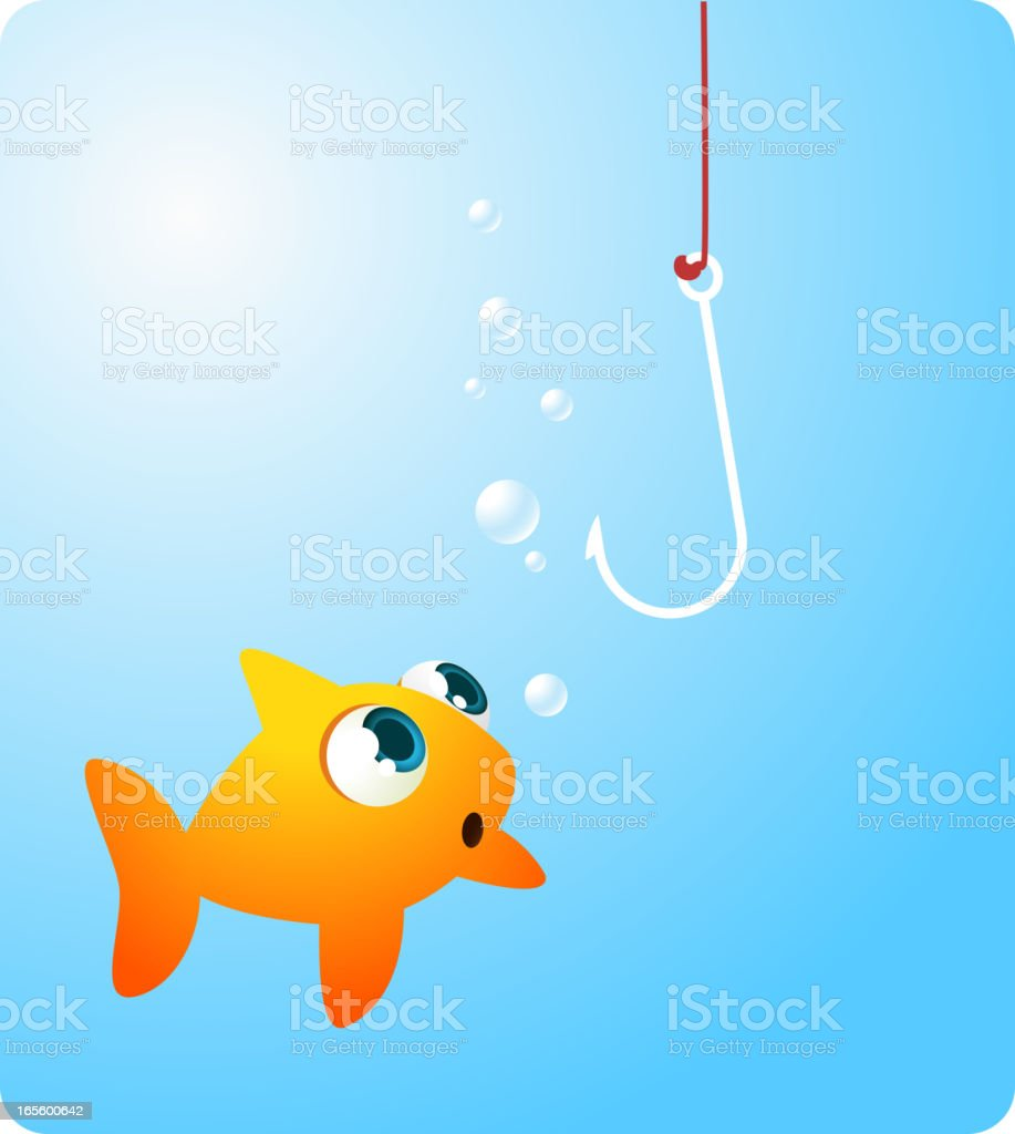 Goldfish fish looking at terrifying hook royalty-free stock vector art