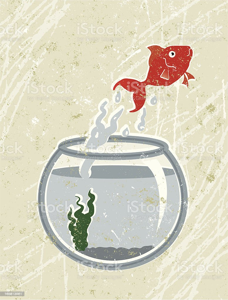 Goldfish Jumping out of Bowl vector art illustration
