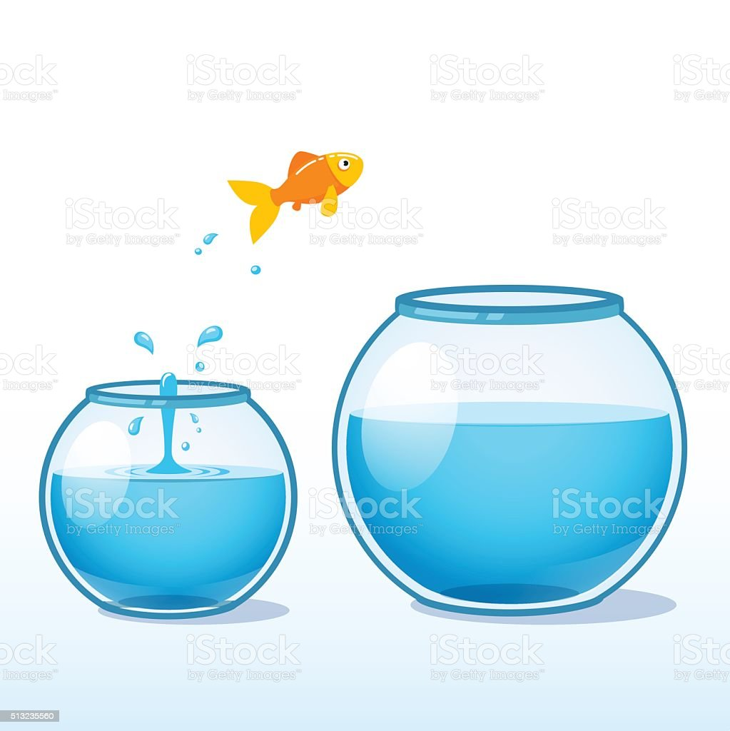 Goldfish making leap of faith to a bigger fishbowl vector art illustration