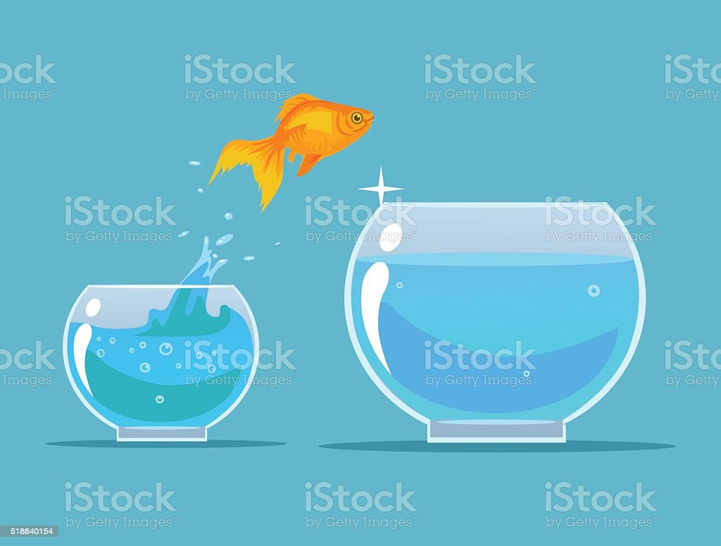 Goldfish making leap. Vector flat cartoon illustration vector art illustration