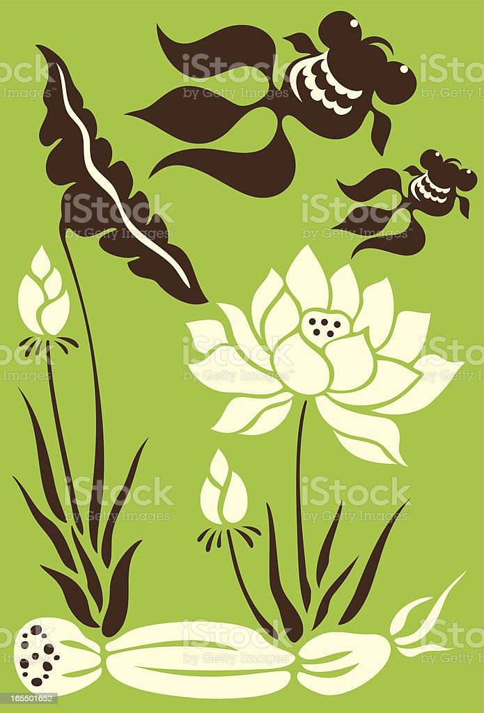 Goldfish's Mother's Day with Lotus Flowers royalty-free stock vector art