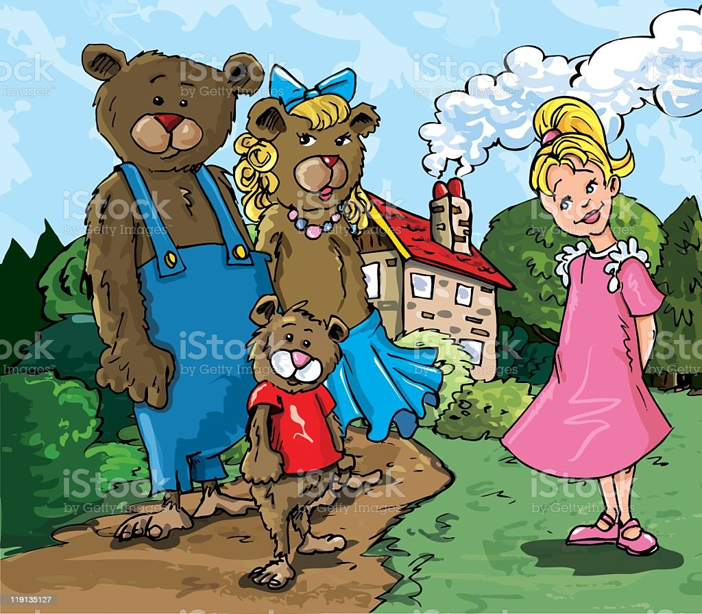 Goldilocks and the three bears royalty-free stock vector art