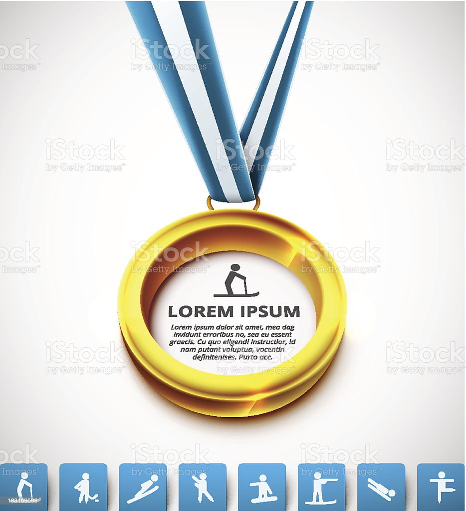 Gold-medal with a blue and white ribbon and white background vector art illustration