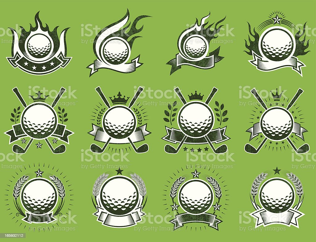 Golf Amateur Country Club on Grunge Badge Set vector art illustration
