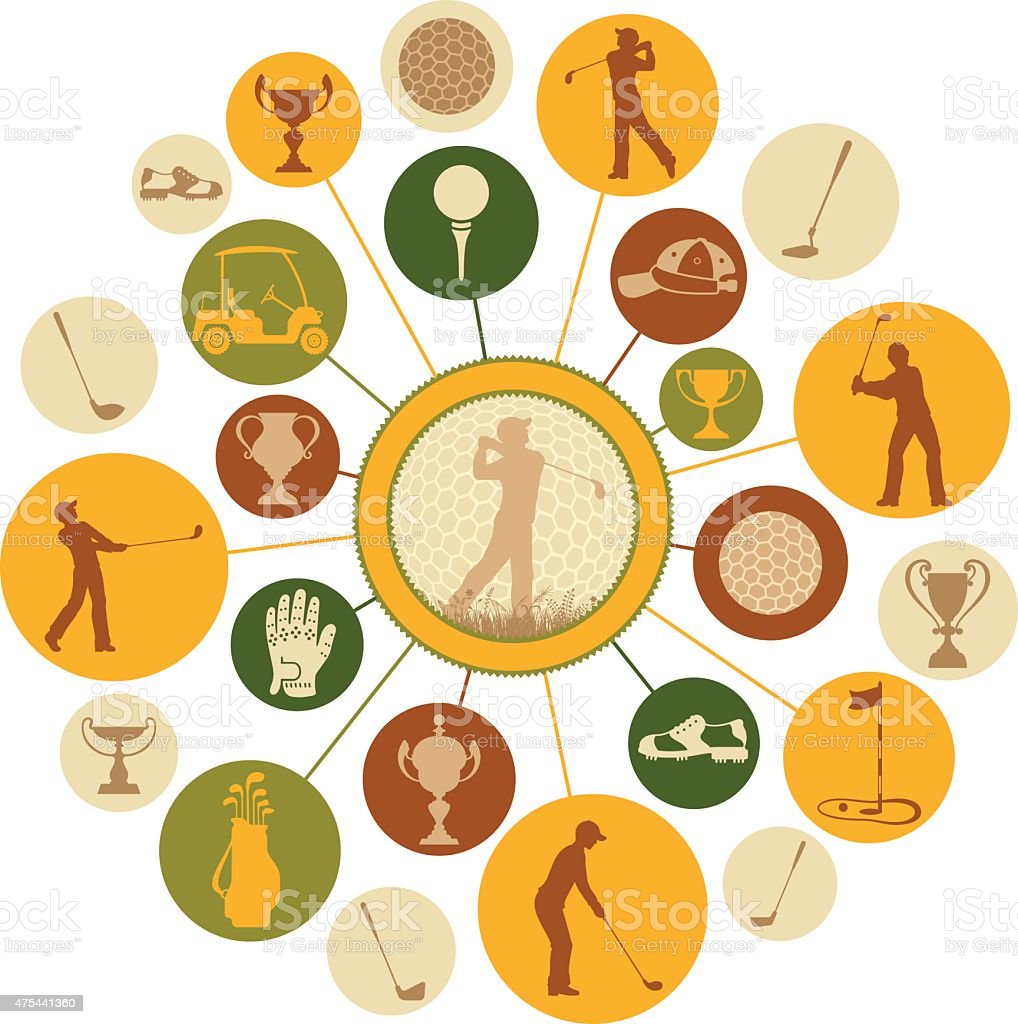Golf Montage vector art illustration