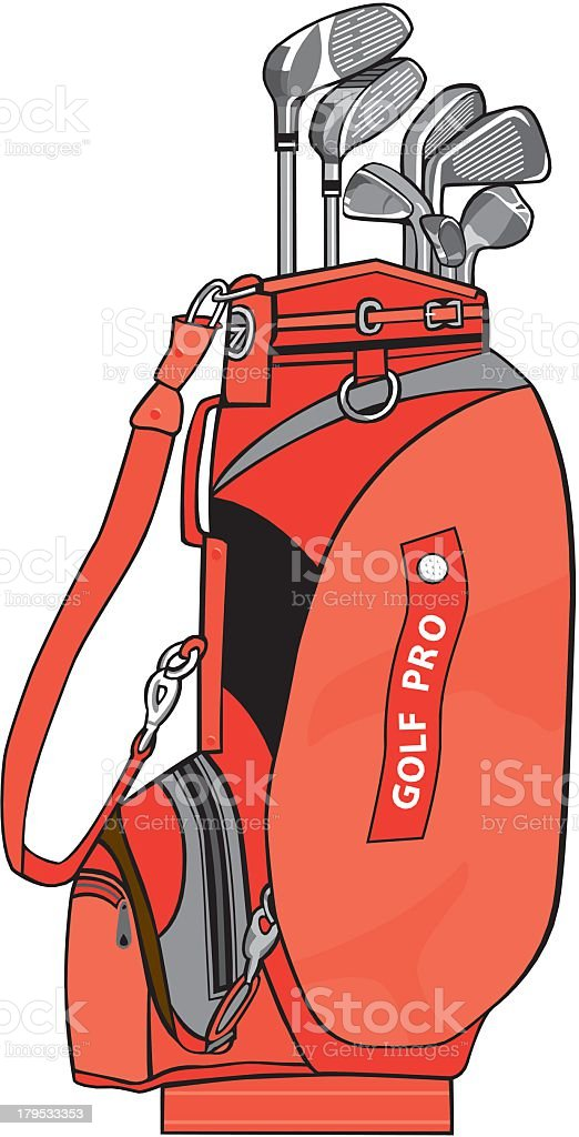 Golf Bag With Clubs royalty-free stock vector art