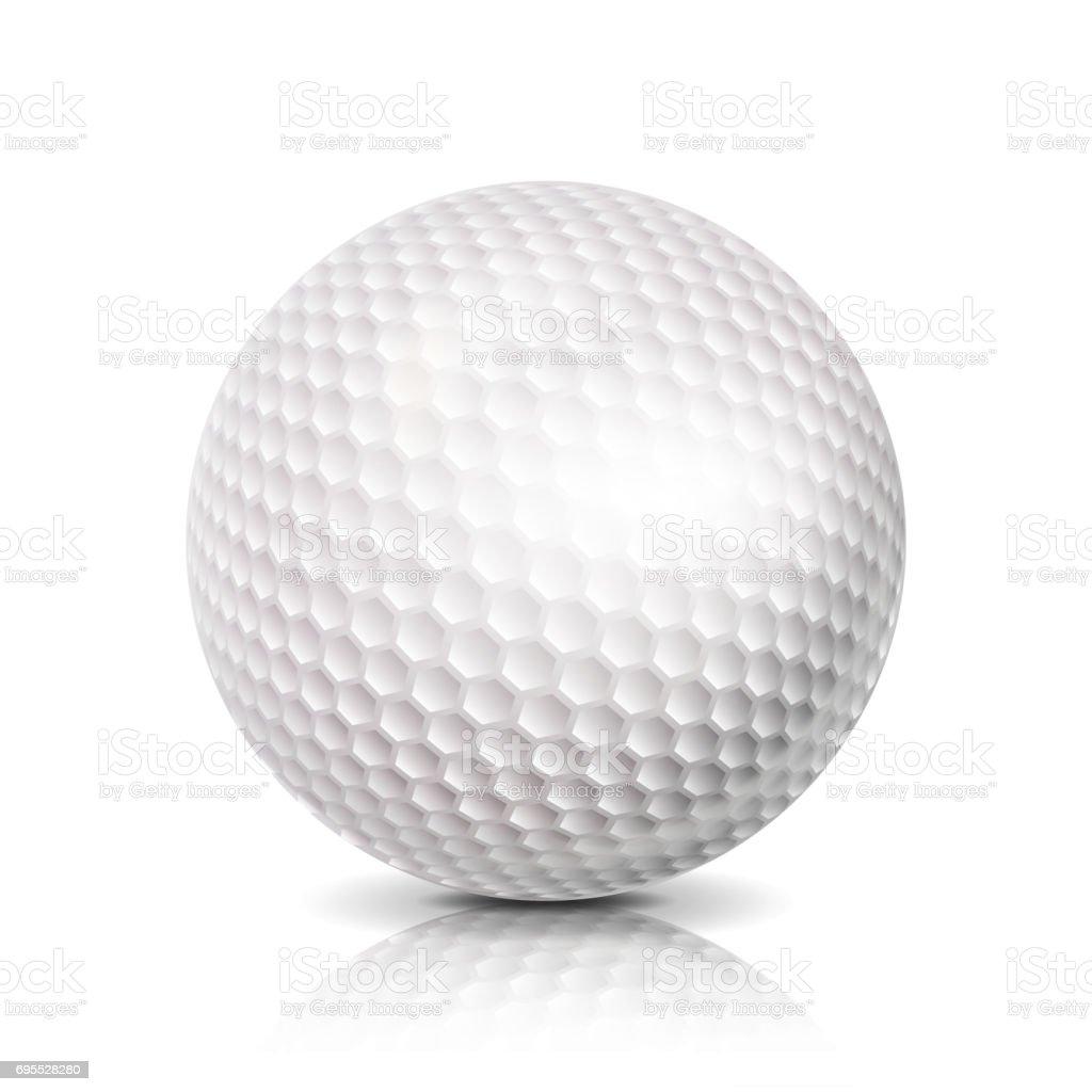 Golf Ball. 3D Realistic Vector Illustration. White Sport Golf Ball Isolated On White Background vector art illustration