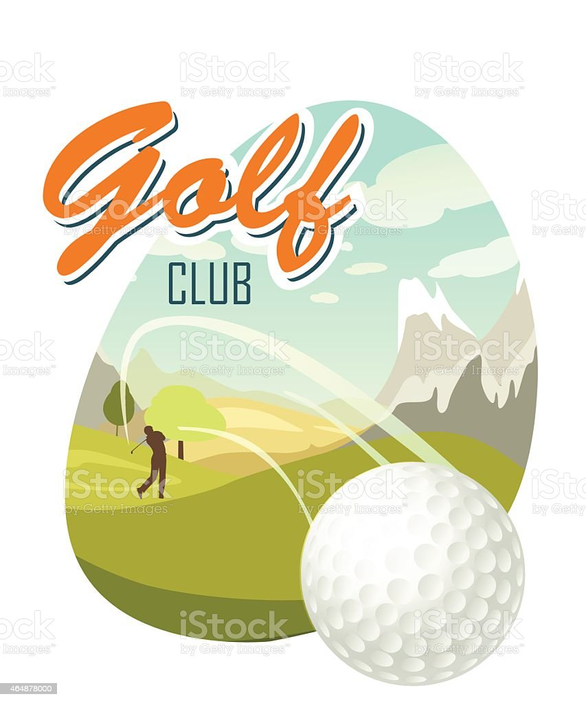 Golf Ball And A Beautiful landscape. Poster for sport. vector art illustration