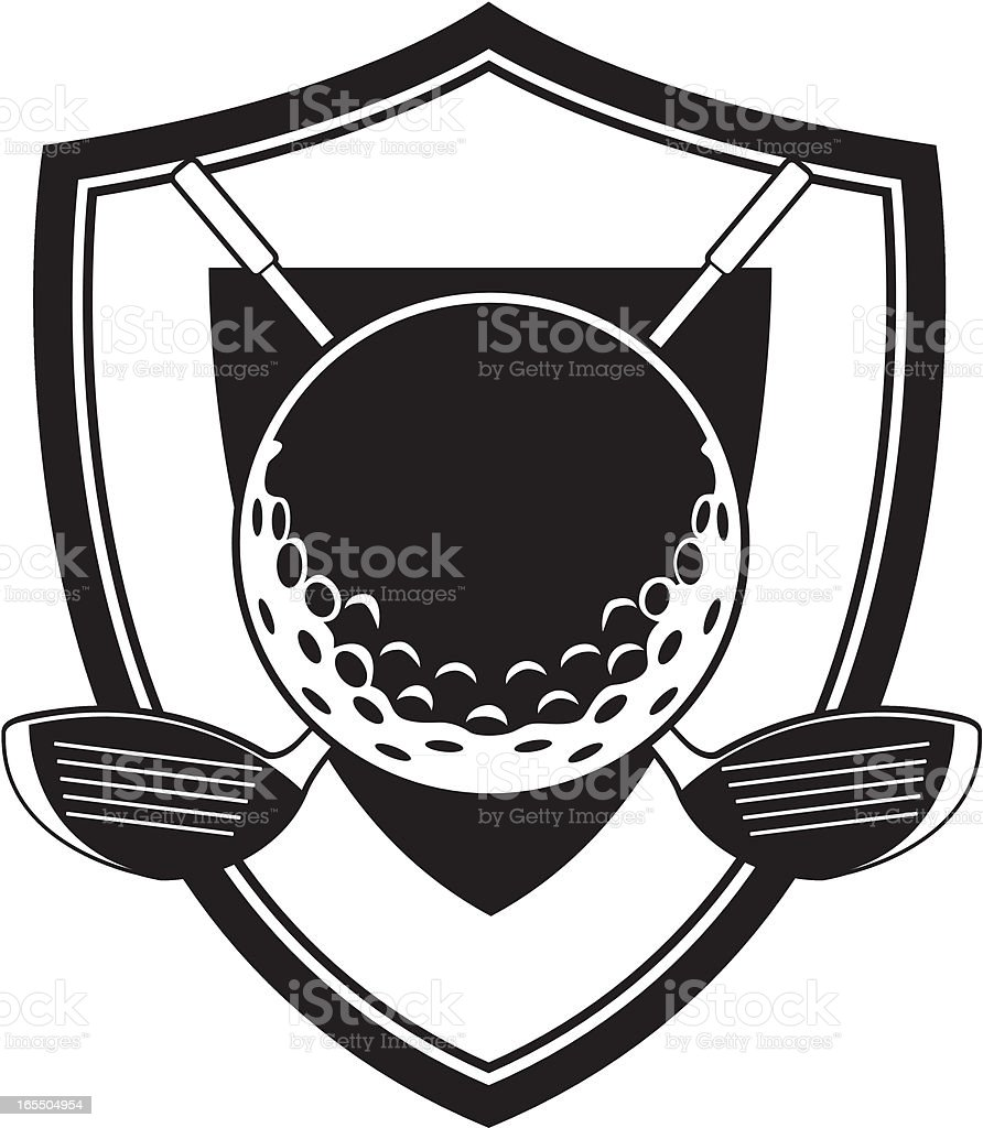 Golf Ball and Club Badge royalty-free stock vector art