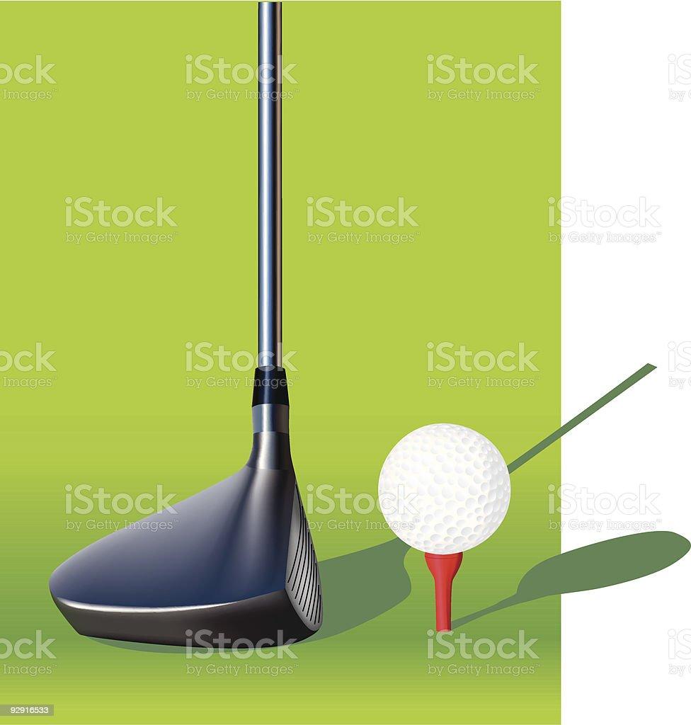 Golf ball and driver (vector & jpeg) vector art illustration
