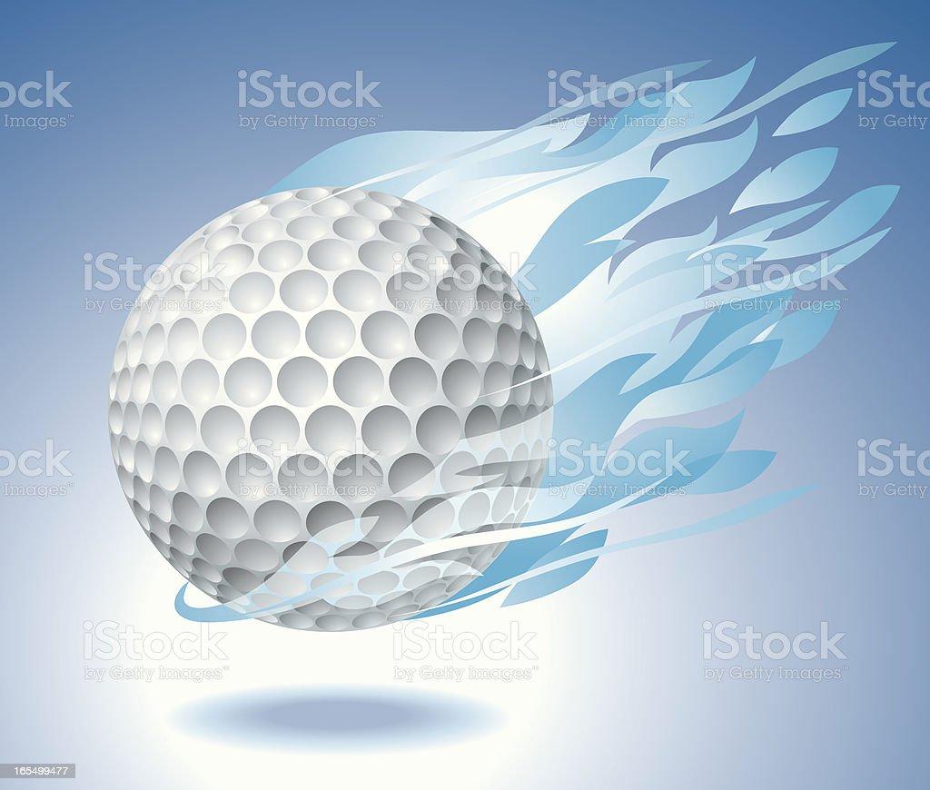 Golf Ball Engulfed in Fire Vector vector art illustration