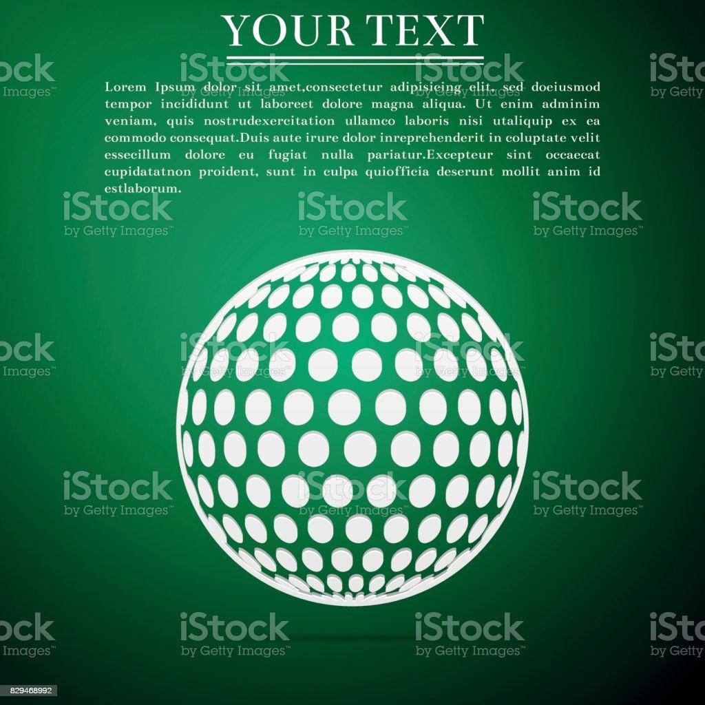 Golf ball flat icon on green background. Vector Illustration vector art illustration