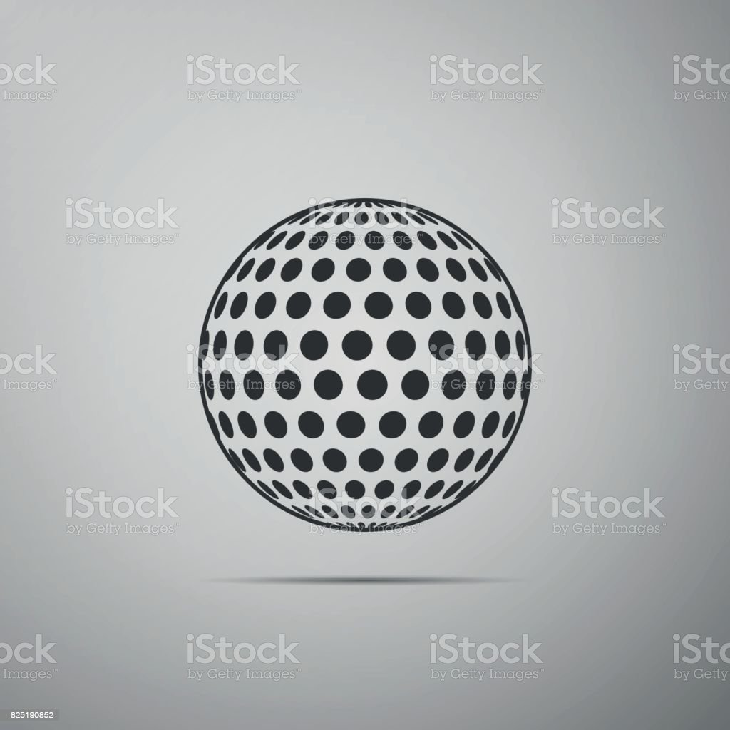 Golf ball flat icon on grey background. Vector Illustration vector art illustration