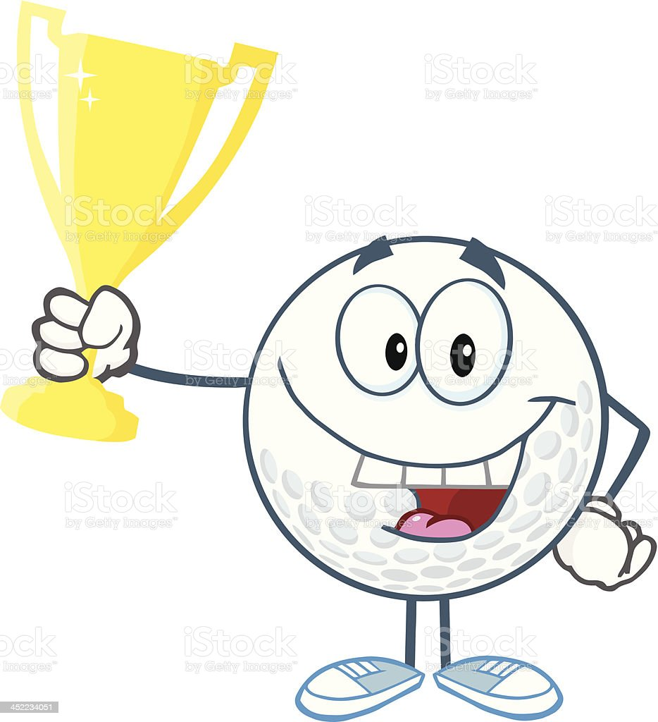 Golf Ball Holding Golden Trophy Cup royalty-free stock vector art