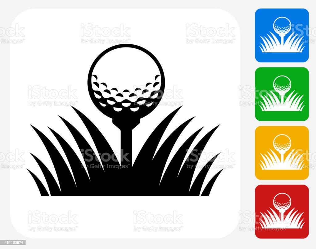 Golf Ball Icon Flat Graphic Design vector art illustration