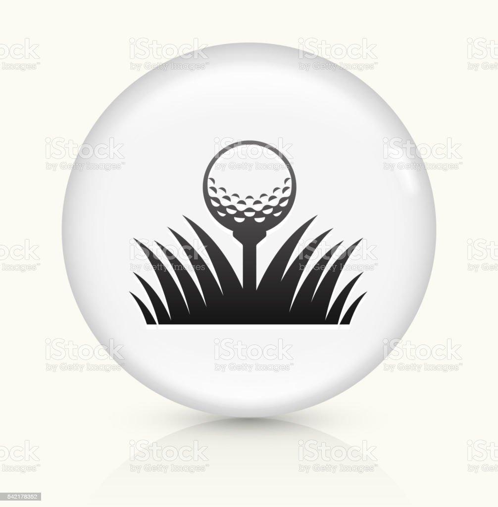 Golf Ball icon on white round vector button vector art illustration