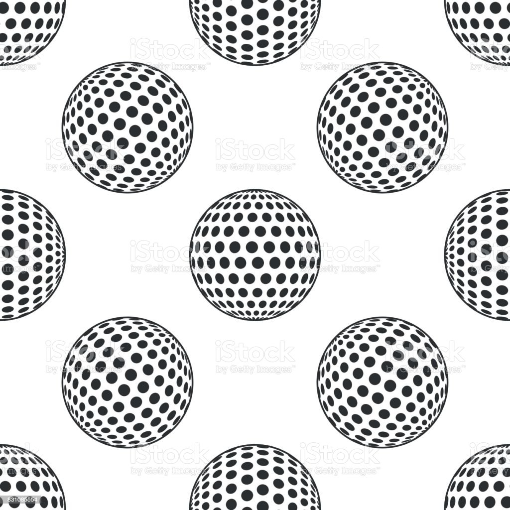 Golf ball icon seamless pattern on white background. Vector Illustration vector art illustration
