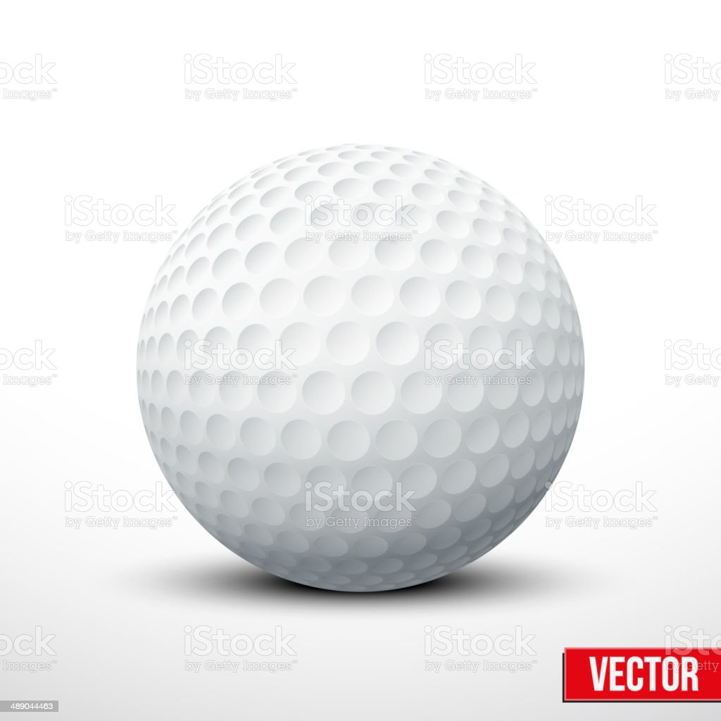 Golf ball isolated on white with clipping path vector art illustration