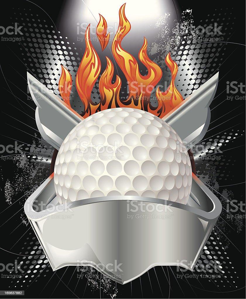 Golf Ball, Metallic Crest and Fire Vector vector art illustration