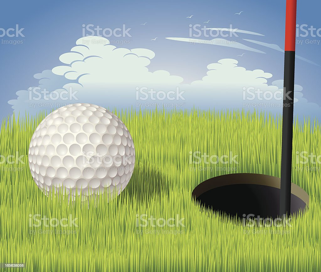 Golf Ball Next to Hole Vector vector art illustration