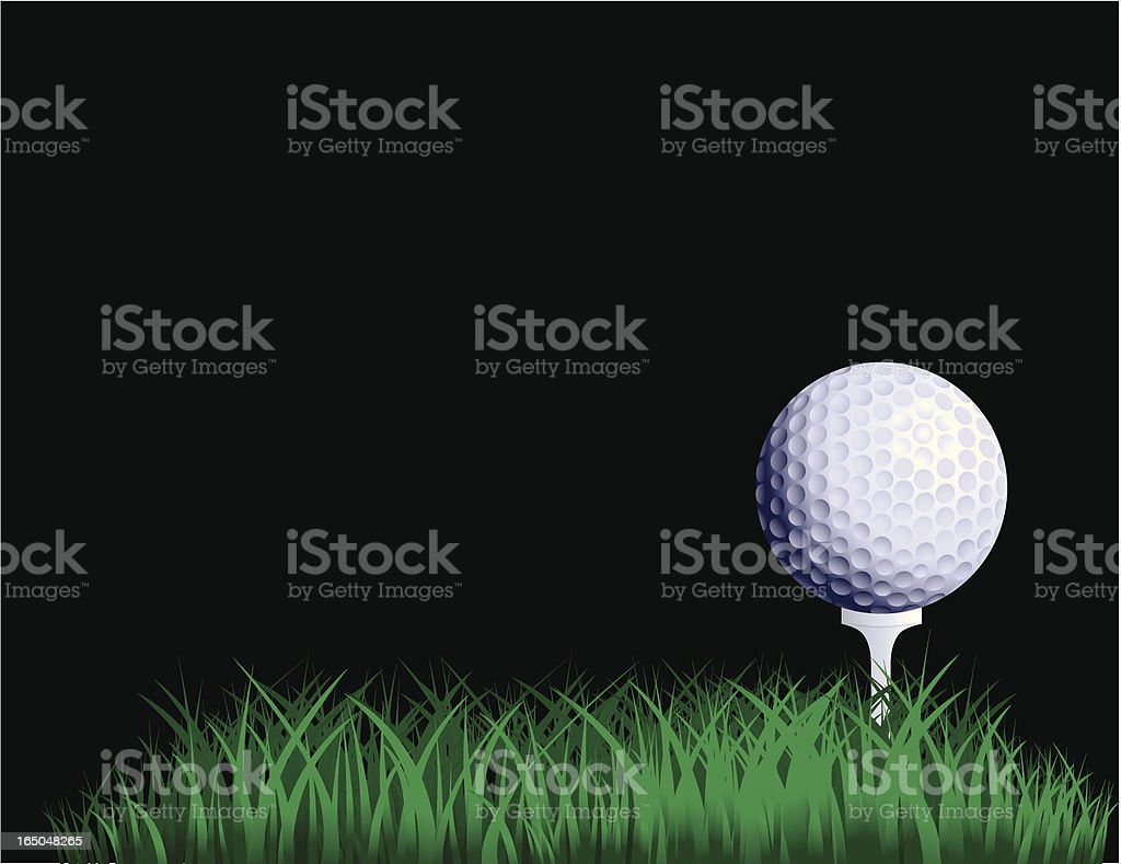 A golf ball on a tee on green grass on a black background royalty-free stock vector art