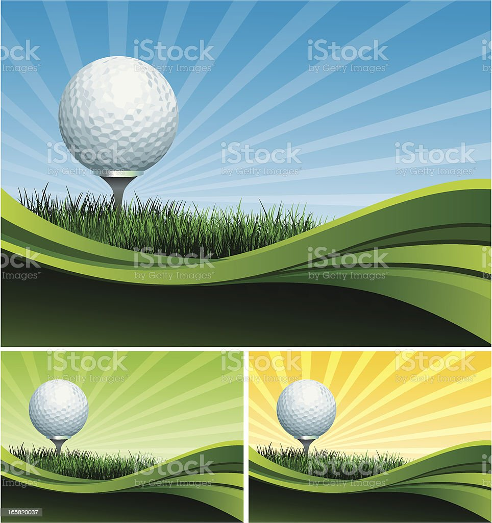Golf ball on a tee with multiple color background options  royalty-free stock vector art