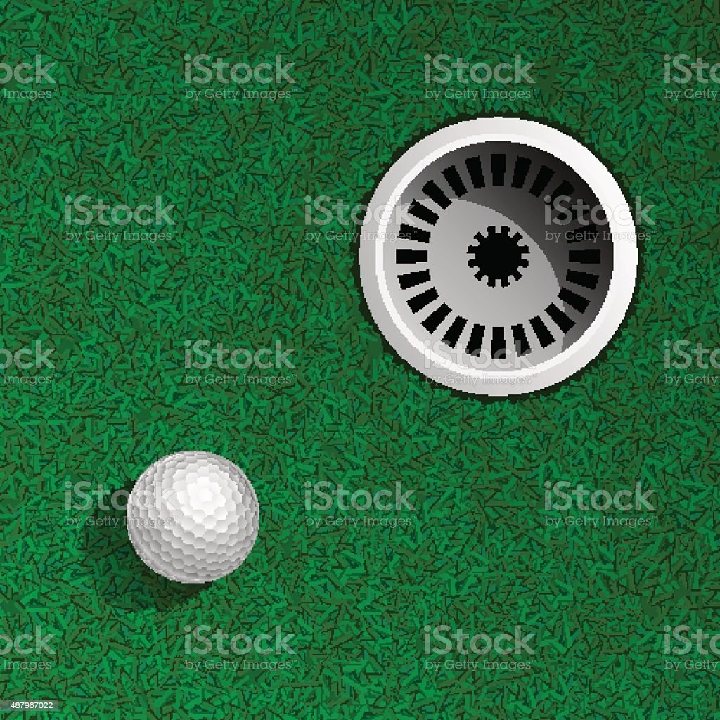 Golf ball on green vector art illustration