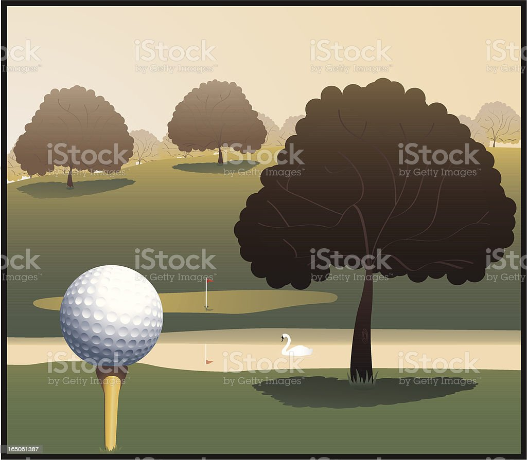 Golf ball on tee and green grass course royalty-free stock vector art