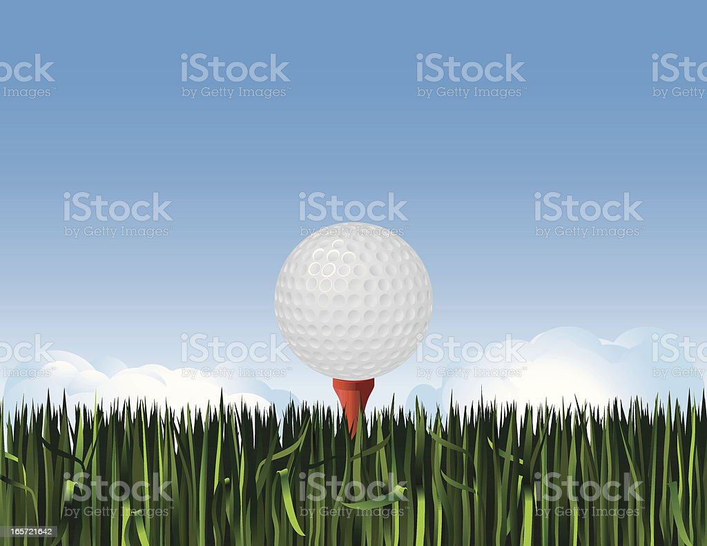 Golf Ball on Tee in Grass royalty-free stock vector art