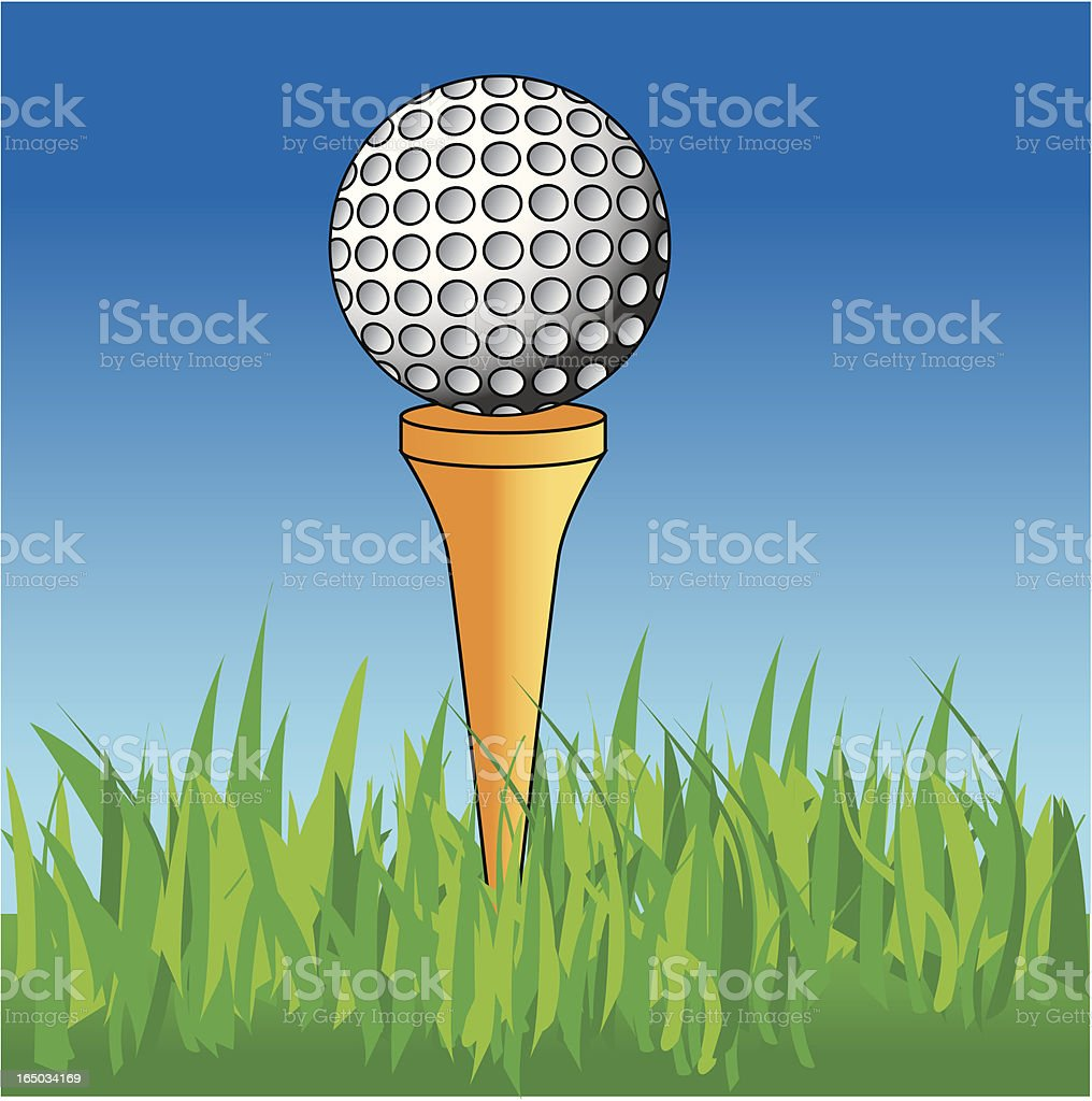Golf ball on tee royalty-free stock vector art