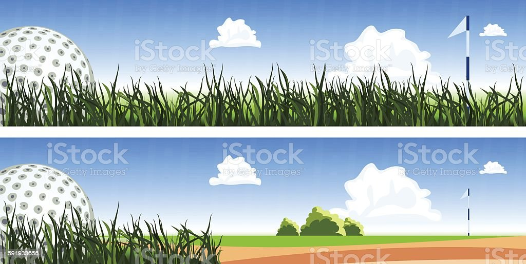 Golf ball on the green grass, close up. Two banners vector art illustration