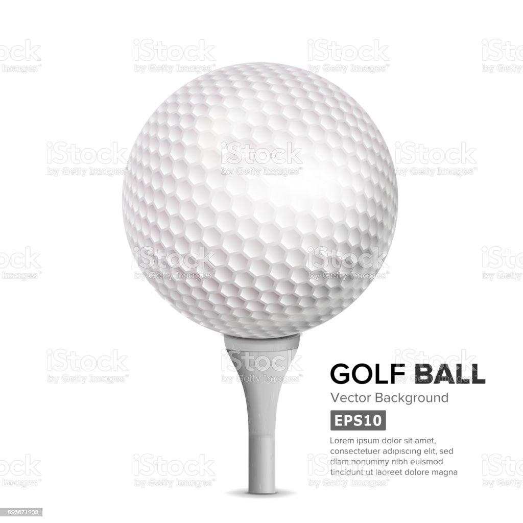 Golf Ball On White Tee. Vector Realistic Illustration Isolated vector art illustration