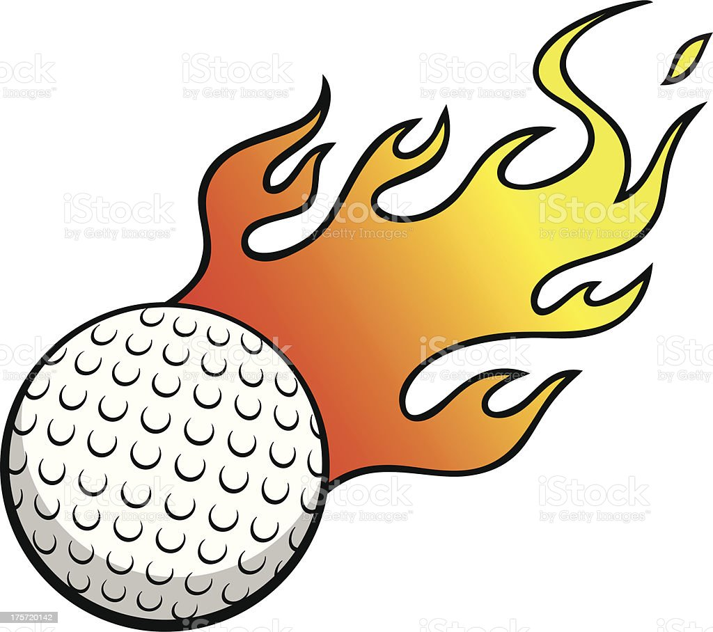 Golf Ball with Flames royalty-free stock vector art