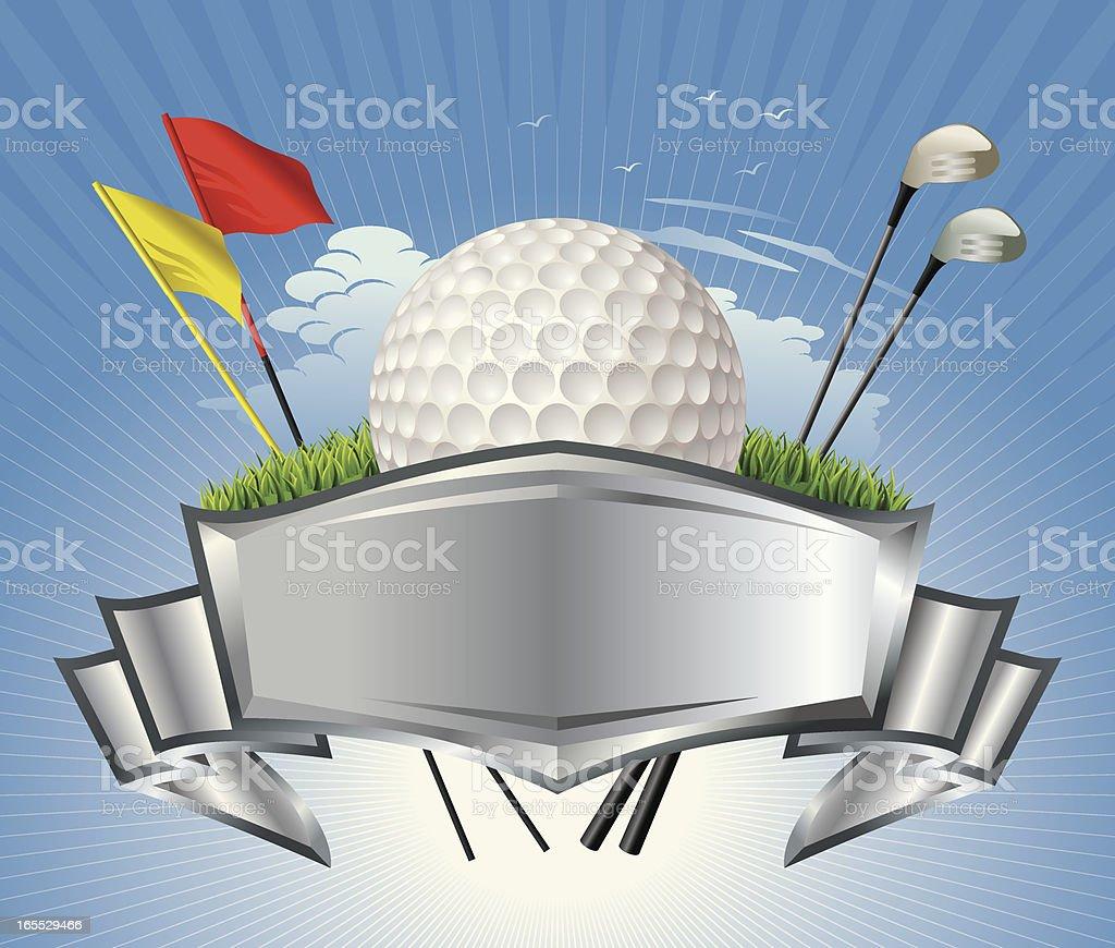 Golf Ball with Metallic Crest Vector vector art illustration
