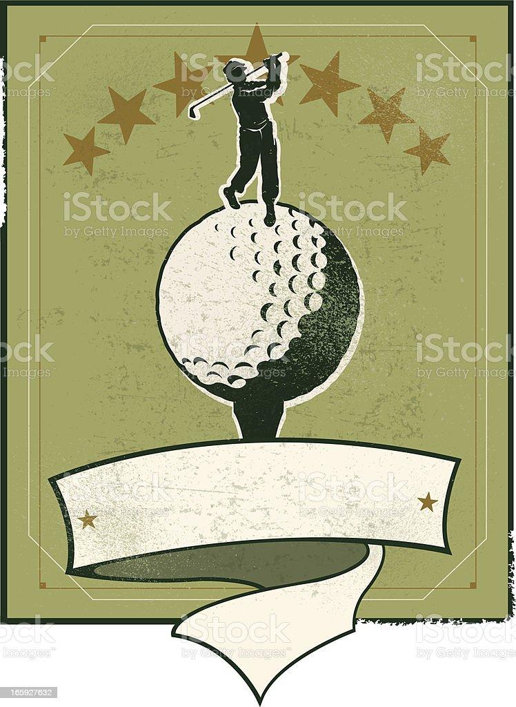 Golf Banner Background - Retro Golfer vector art illustration