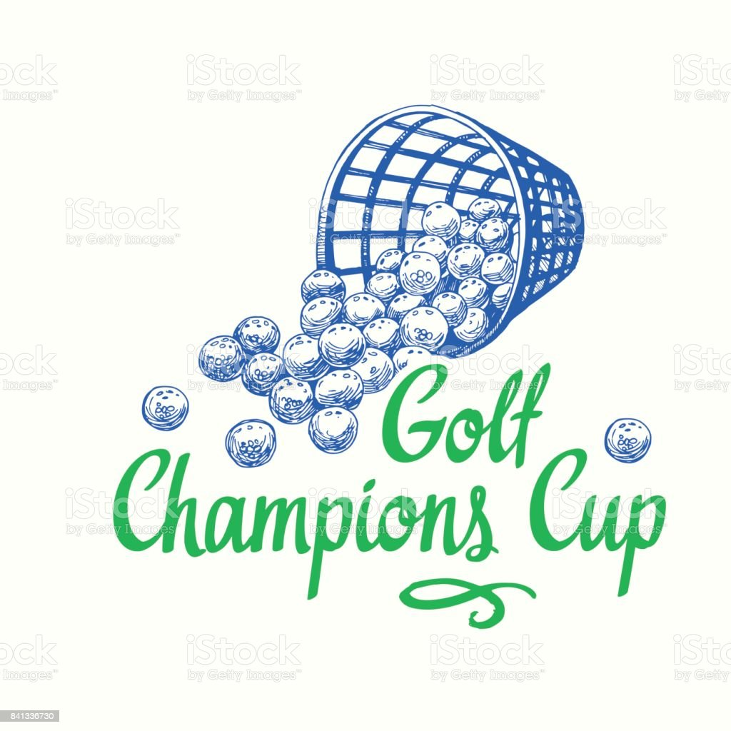 Golf basket with balls. Vector set of hand-drawn sports equipment....