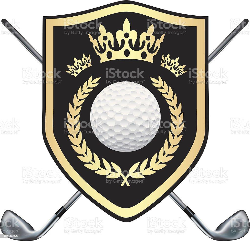 Golf Black Shield With Crowns vector art illustration