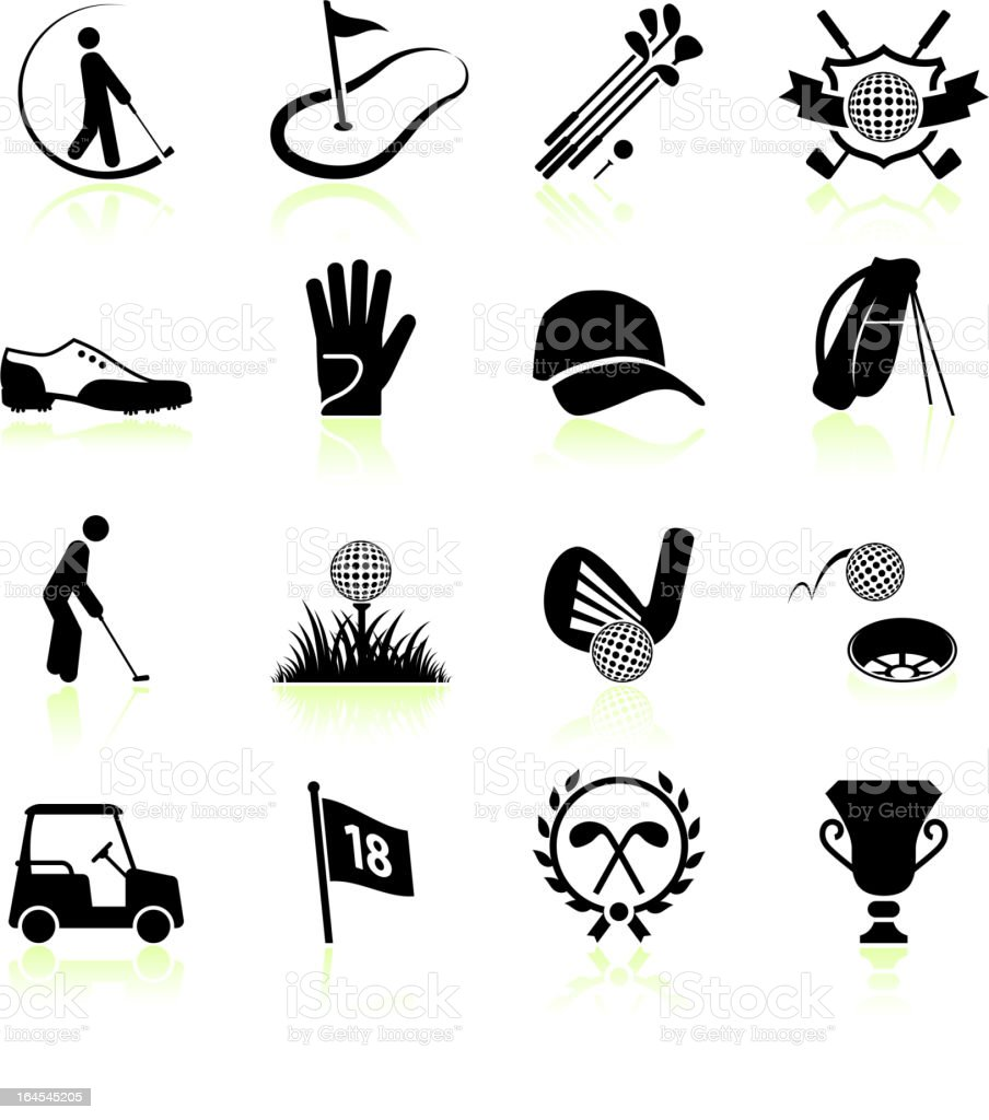 Golf black & white royalty free vector icon set vector art illustration