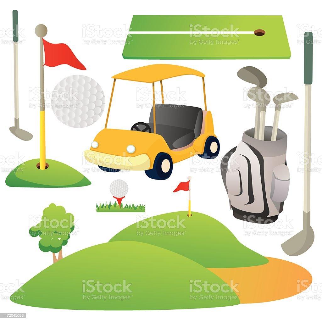Golf Cartoon Elements vector art illustration
