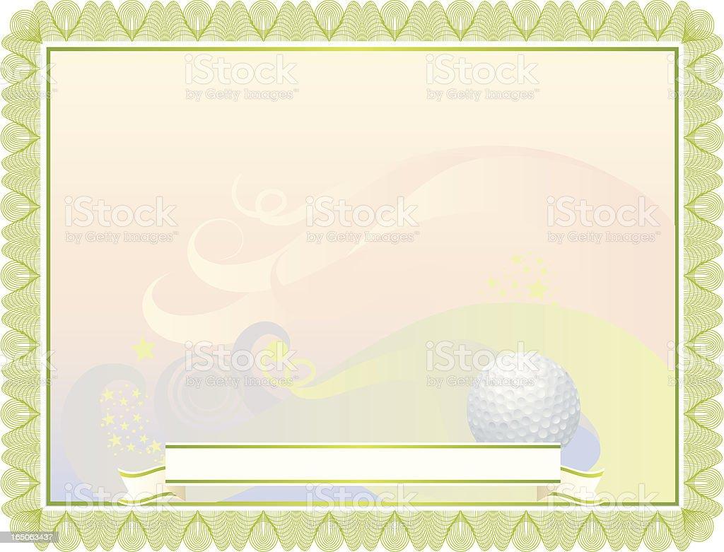 Golf Certificate royalty-free stock vector art