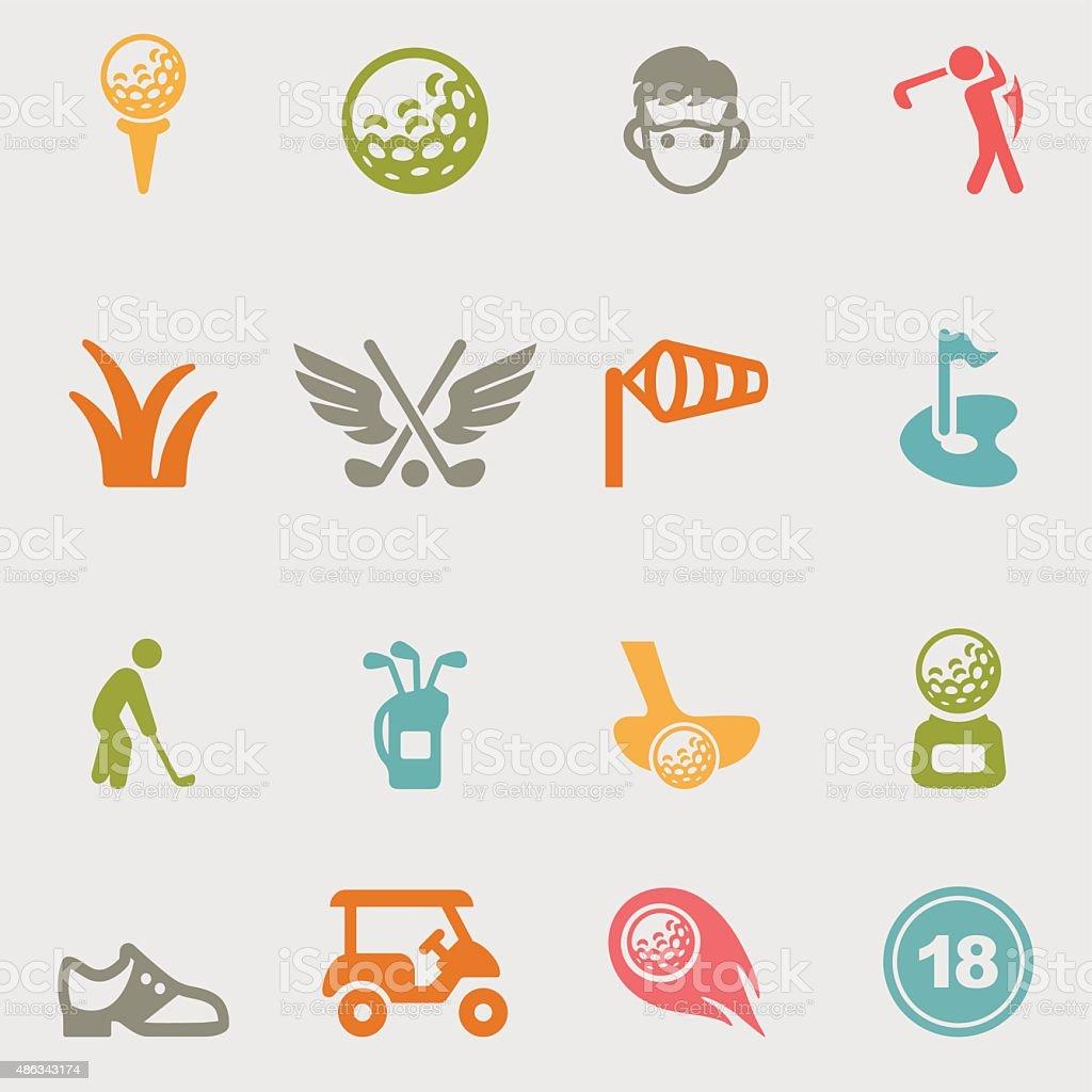 Golf color variation icons | EPS10 vector art illustration