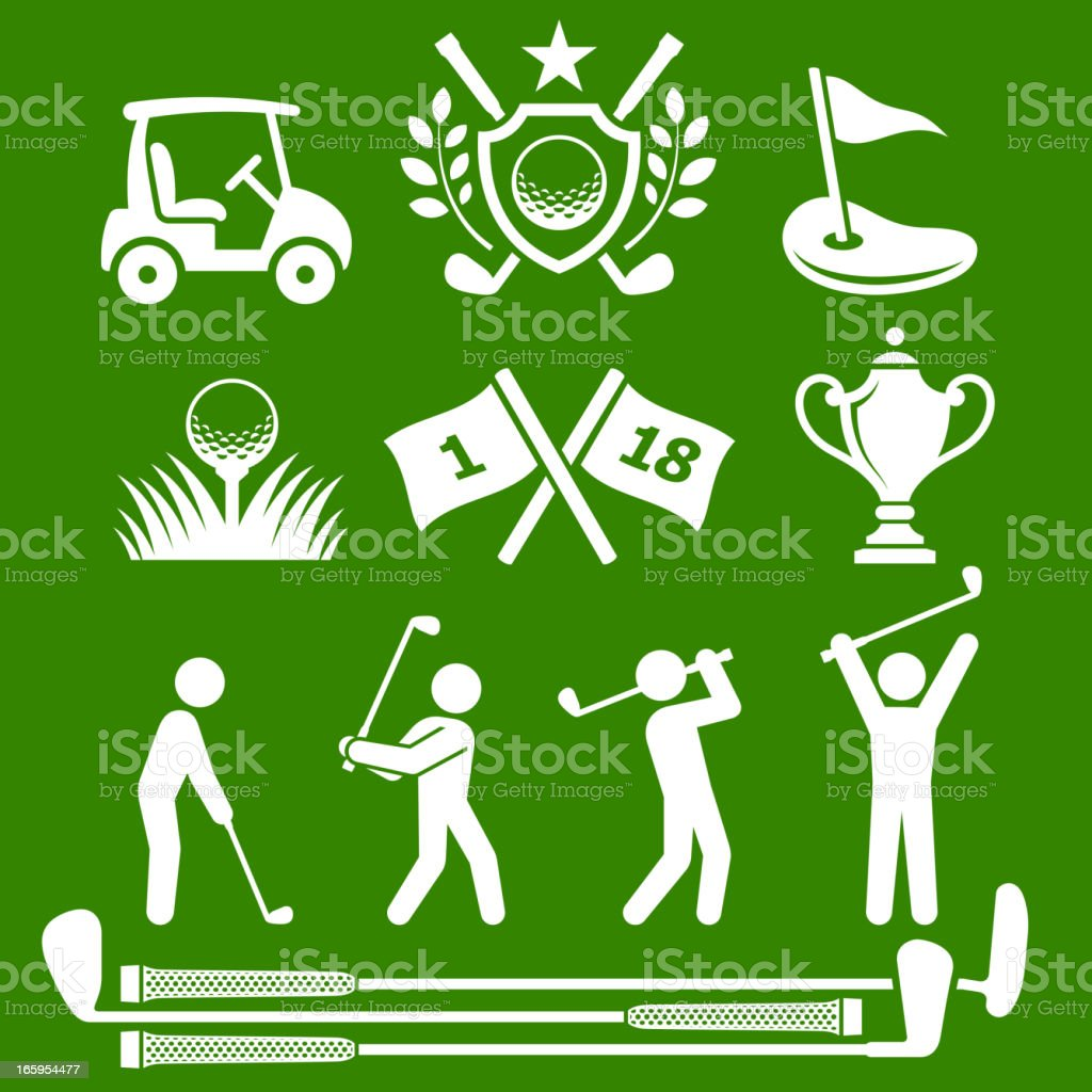 Golf Country Club Tournament green & white vector icon set vector art illustration