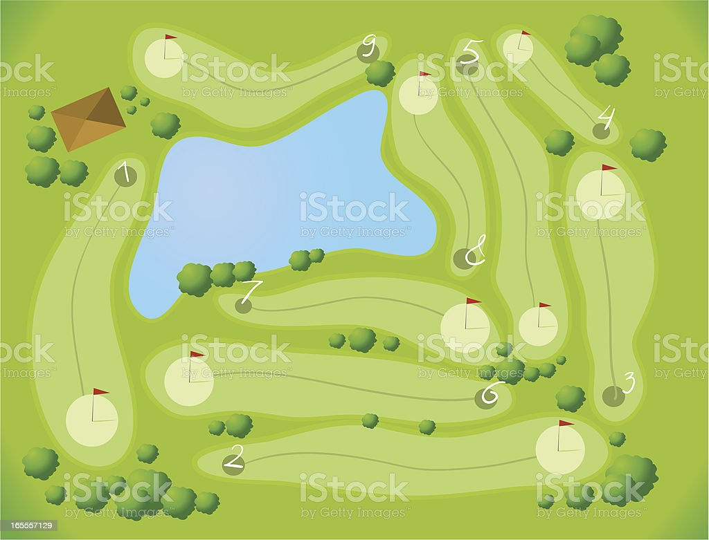 Golf Course Aerial View vector art illustration