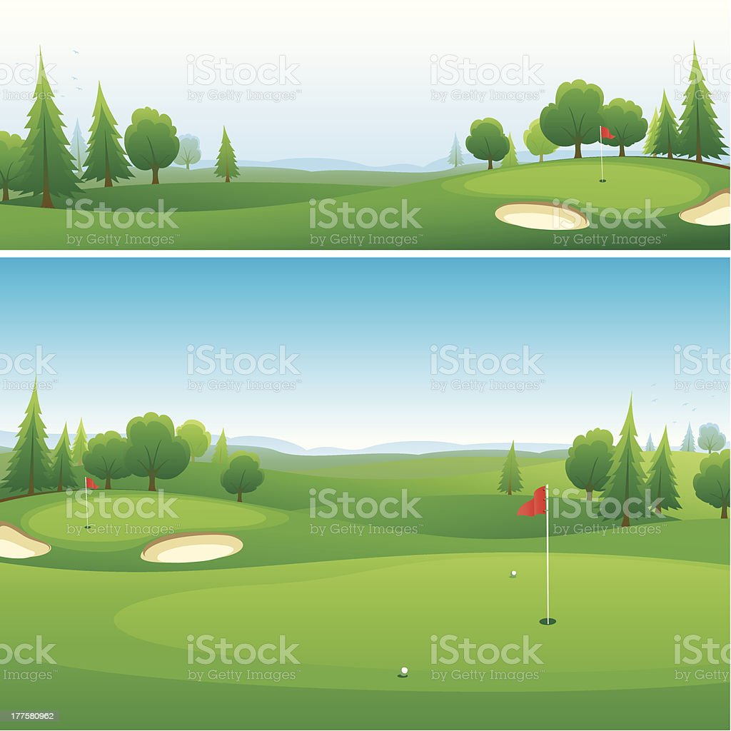 Golf course background designs vector art illustration