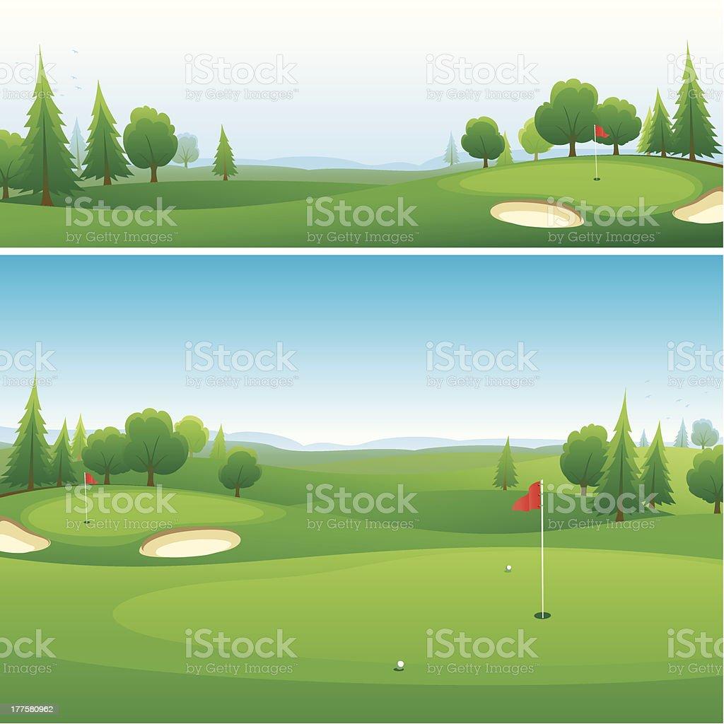 Golf course background designs vector art illustration