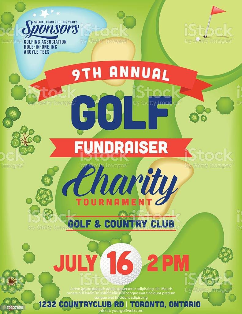 Golf Course Fundraiser Tournament Template vector art illustration