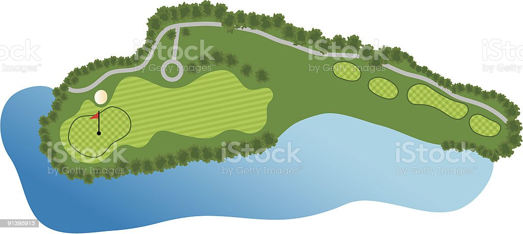 Golf Course Hole royalty-free stock vector art