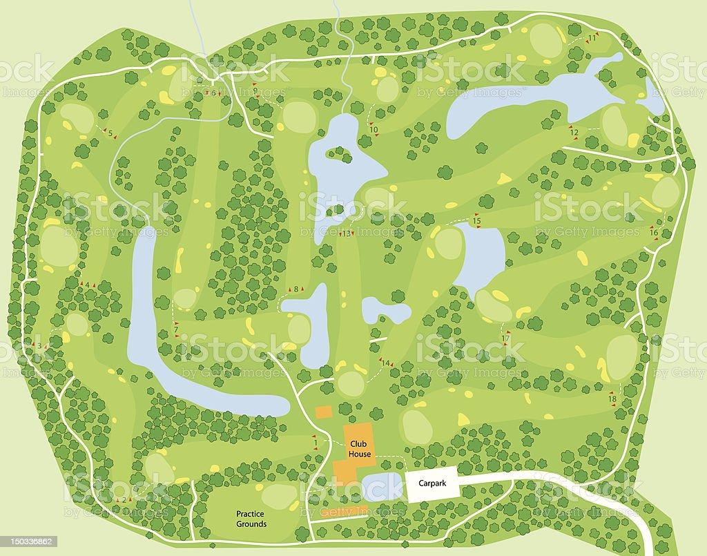 Golf course map vector art illustration